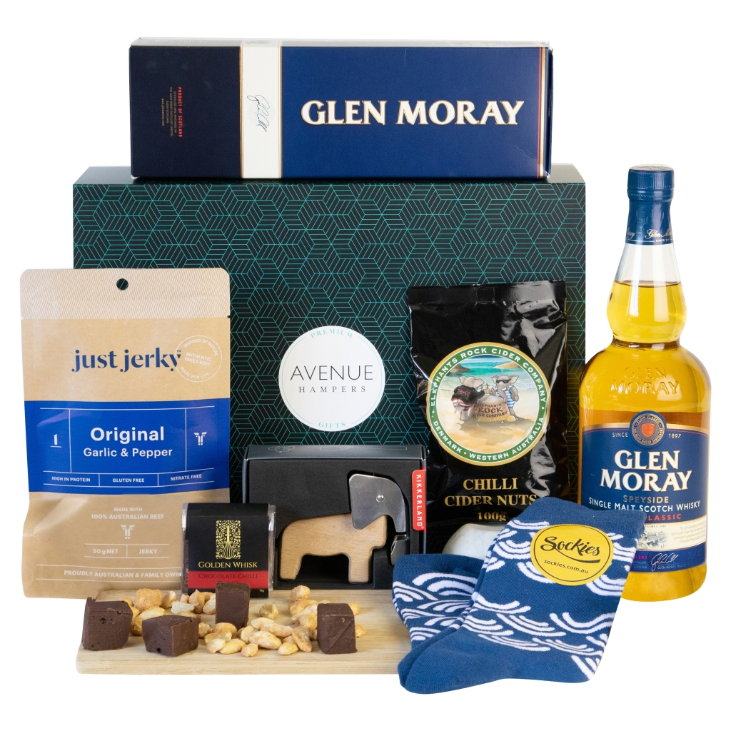 Avenue Hampers Scotch Benefit hamper with Glen Moray and other snacks
